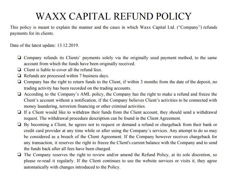 Полный обзор брокера WAXX Capital, Фото № 6 - 1-consult.net