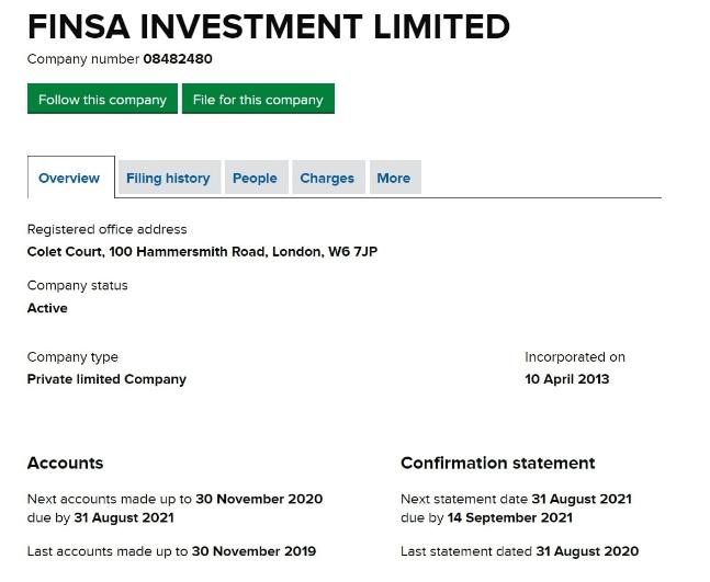 Вся информация о компании Finsa Investment Limited, Фото № 3 - 1-consult.net